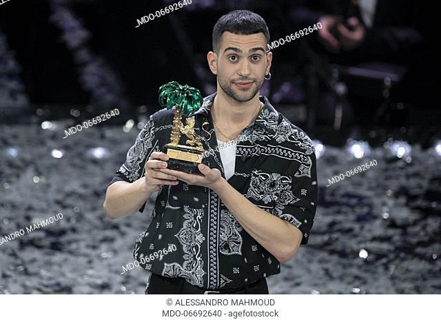 Italian-Egyptian singer Mahmood (Alessandro Mahmoud) winner of the 69th Sanremo Music Festival. Sanremo (Italy), February 9th, 2019