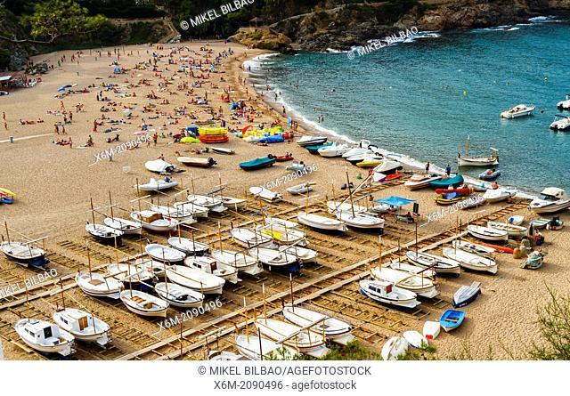Fishing boats. Sa Riera, Begur. Costa Brava, Gerona. Catalonia, Spain, Europe