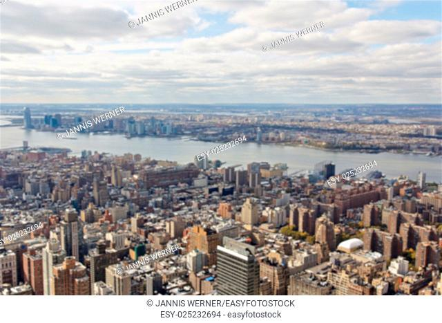 Blurred background of view towards New Jersey from the Empire State Building in New York, NY