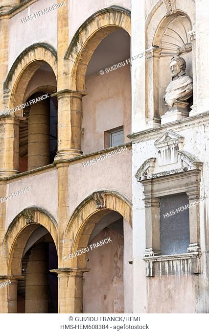 France, Rhone, Lyon, historical site listed as World Heritage by UNESCO, the house of Henri IV, St Barthelemy street, and its arcaded galleries