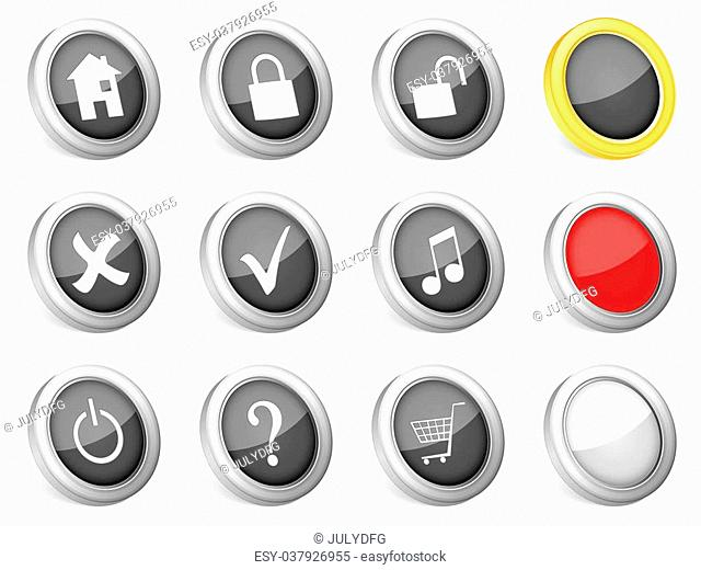 3d icons computer symbol on white background. Vector illustration