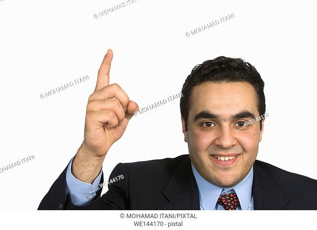 Businessman hand up