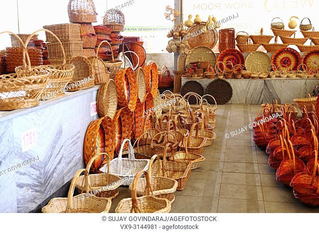 Tashkent, Uzbekistan - May 01, 2017: Handmade cane baskets of various kind at a shop in Chorsu market