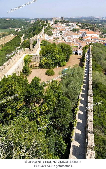View of Obidos from the city wall, Castelo de Obidos, Obidos Castle, Obidos, Leiria District, Pinhal Litoral, Portugal, Europe