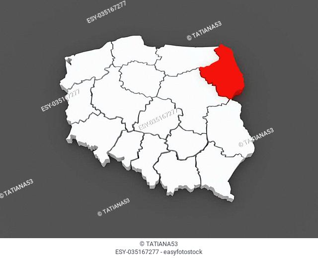 Map of Podlasie. Poland. 3d