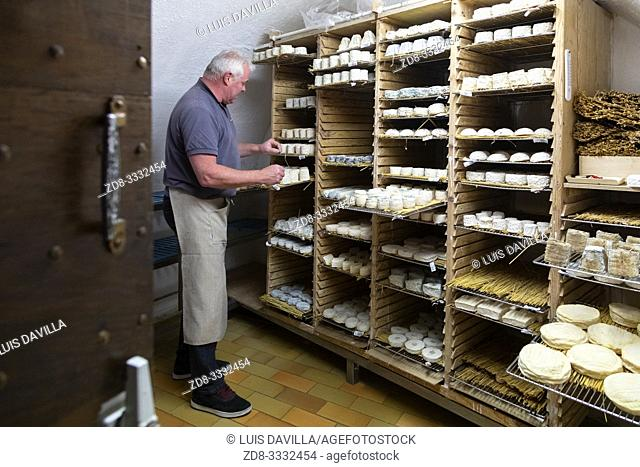 ripening room in the Cheese shop Xavier. Toulouse. France