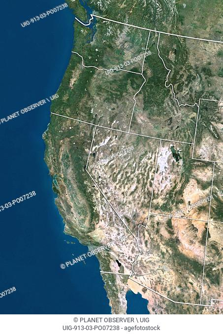 Satellite view of the West Coast of the United States (with administrative boundaries). This image was compiled from data acquired by Landsat satellites