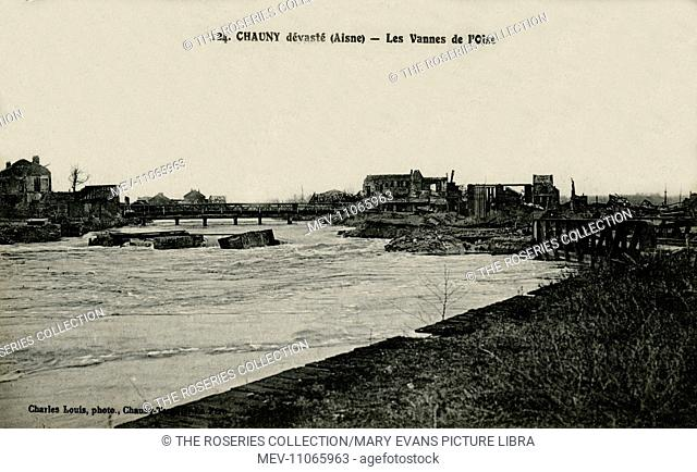 Chauny, France - locks and sluice valves in the River Oise, a tributary of the River Seine, with buildings ruined in wartime
