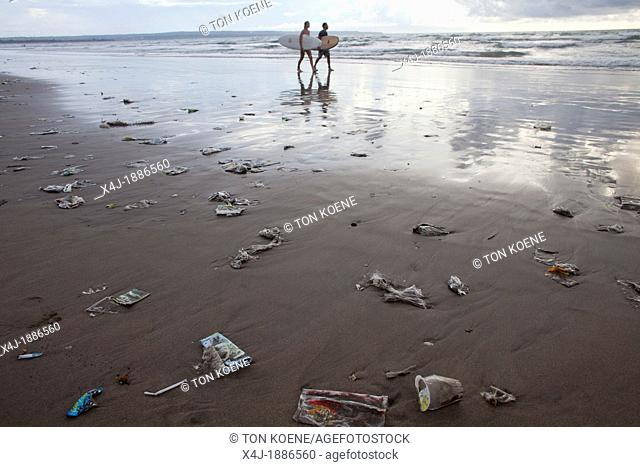 plastic garbage at the shore of Bali