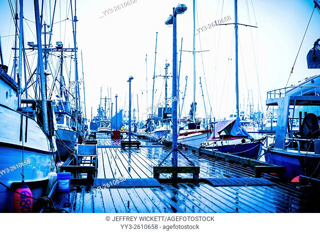 Scene in Thomsen Harbor on a rainy summer day in Sitka, Alaska USA
