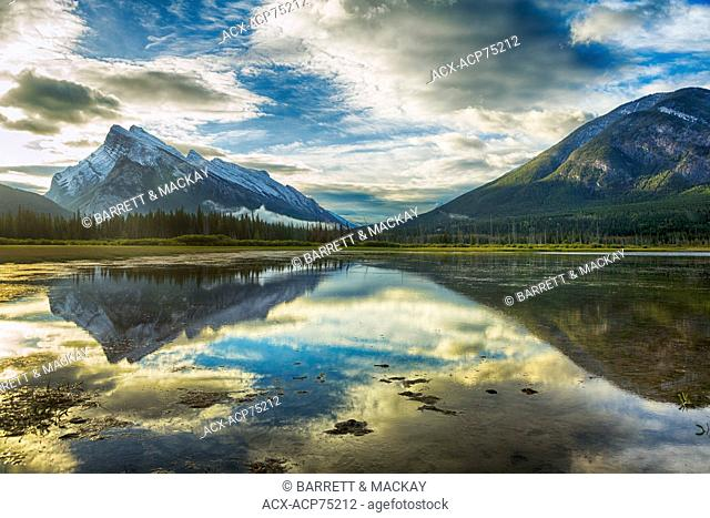 Mount Rundle reflected in Vermilion Lakes, Banff National Park, Alberta, Canada