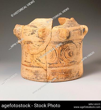 Terracotta bridge-spouted jar. Period: Late Minoan I; Date: ca. 1600-1450 B.C; Culture: Minoan; Medium: Terracotta; Dark-on-light ware; Dimensions: H