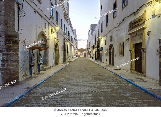Morocco, Marrakesh-Safi (Marrakesh-Tensift-El Haouz) region, Essaouira. Empty street and buildings in medina old town at dawn