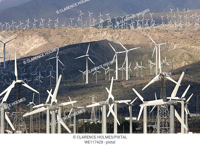 Wind turbines generating electricity on the San Gorgonio Pass Wind Farm serving Palm Springs, California, USA