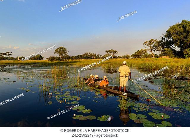 Makoro (also spelt mekoro, mokoro) ride. Xaranna Camp. Okavango Delta. Botswana