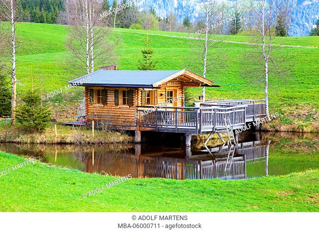 small country house in the pond, log cabin, hut, partial building on stilts, birches, early spring, Fieberbrunn, Tyrol, Austria