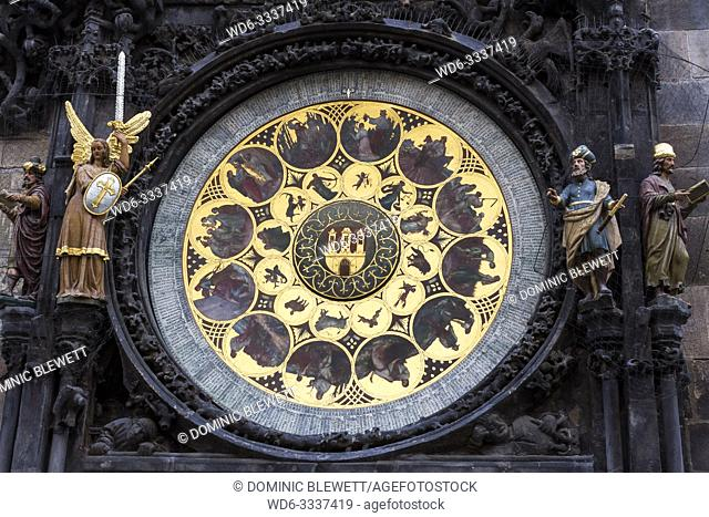Detail of the Prague Astronomical Clock, or Prague Orloj, on the Old Town Hall in Prague, The Czech Republic