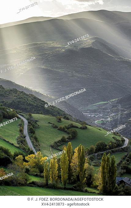 Panoramic views of Pallars Sobira from Roni, near of Rialp. Lerida, Catalonia, Spain