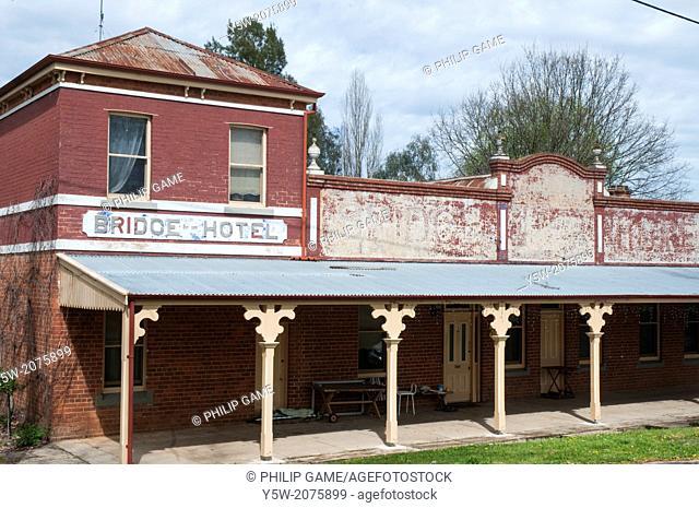 Former Bridge Hotel at Yackandandah, a gold rush-era township in NE Victoria, Australia