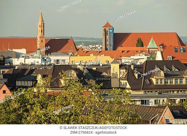 The skyline of Wroclaw, Poland