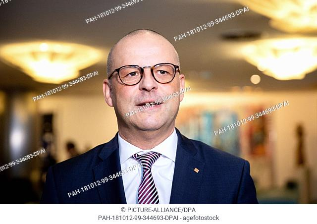 12 October 2018, Berlin: Martin Seiler, head of Deutsche Bahn's Human Resources and Legal Affairs Division, addressing media representatives at the beginning of...
