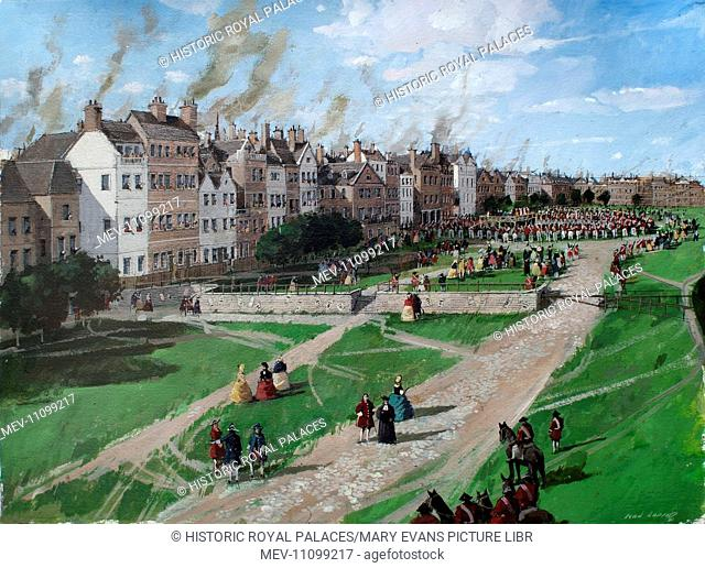 Reconstructed view of Tower Hill, showing, in the distance, the execution of Lord Lovat in 1747. The execution of Simon Fraser