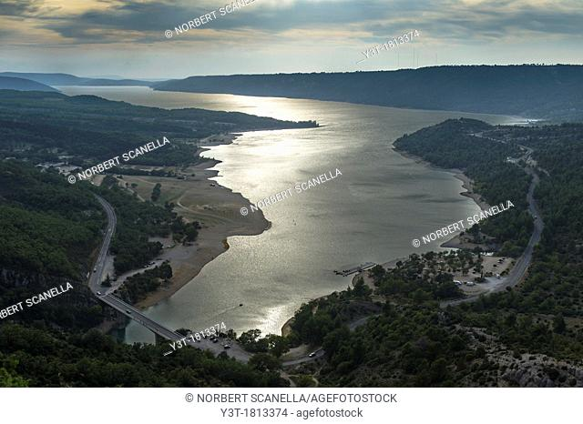 Europe, France, Var, Regional Natural Park of Verdon, Gorges du Verdon. The lake of Sainte-Croix at dust