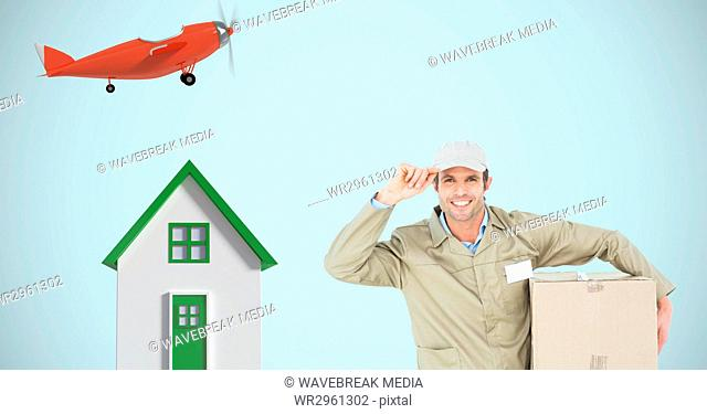 Delivery man with parcel by house and airplane