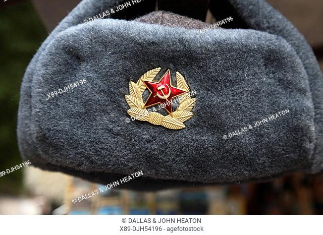 Russia, Moscow, Arbat Street, Russian Hats with Hammer and Sickle Badges