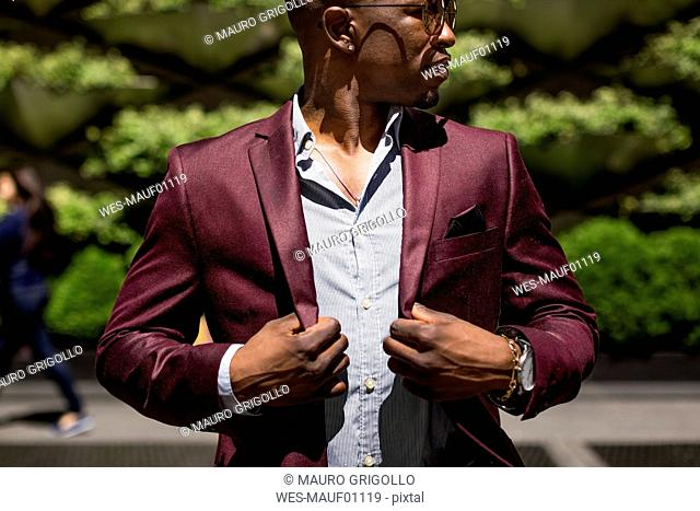 Stylish businessman with hands on his lapels