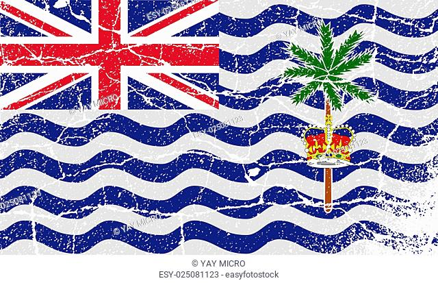 Flag of British Indian Ocean Territory with old texture