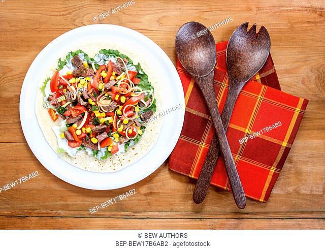 Tortilla filling, fresh vegetables