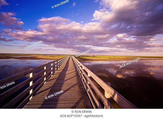 The Kellys beach boardwalk across the lagoon to the beaches and dunes on the Barrier Islands, Kouchibouguac National Park, New Brunswick, Canada