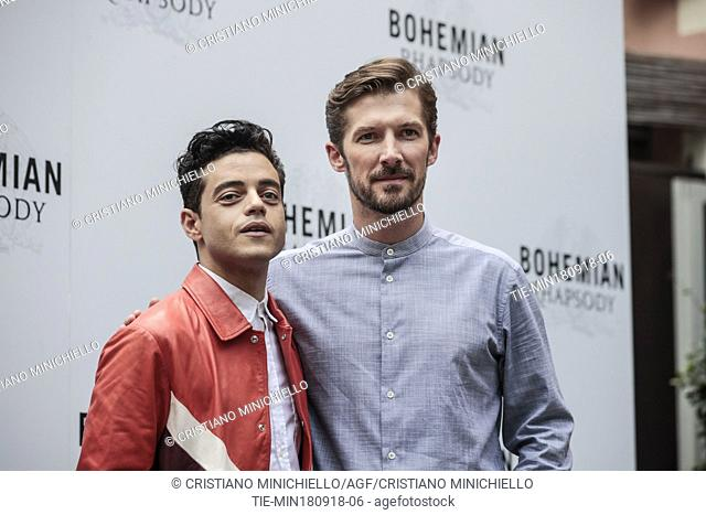 The actors Rami Malek and Gwilym Lee during the photocall of film Bohemian Rhapsody, Rome, ITALY-18-09-2018