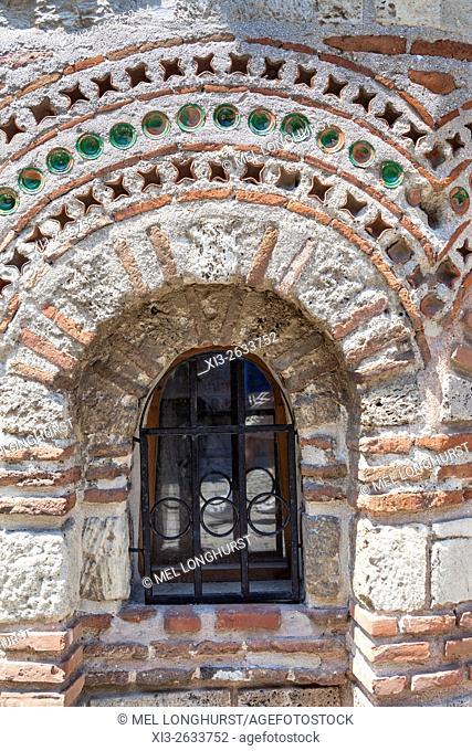 Small window in wall of Saint Paraskeva Church, Nessebar, Bulgaria