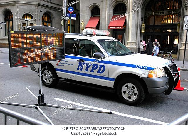 New York City, police check point along Broadway Avenue, Downtown Manhattan