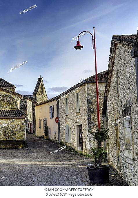 empty street, Monsegur, Lot-et-Garonne Department, Nouvelle Aquitaine, France