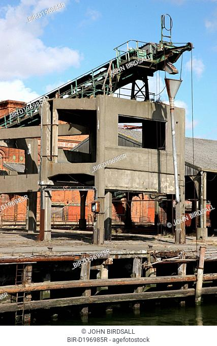 Grimsby Ice House, built 1900, now derelict, showing conveyors which took ice directly to trawlers for packing fish in
