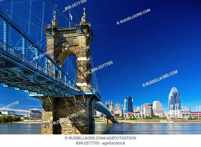 Roebling Suspension Bridge Ohio River Downtown Skyline Cincinnati Ohio Usa