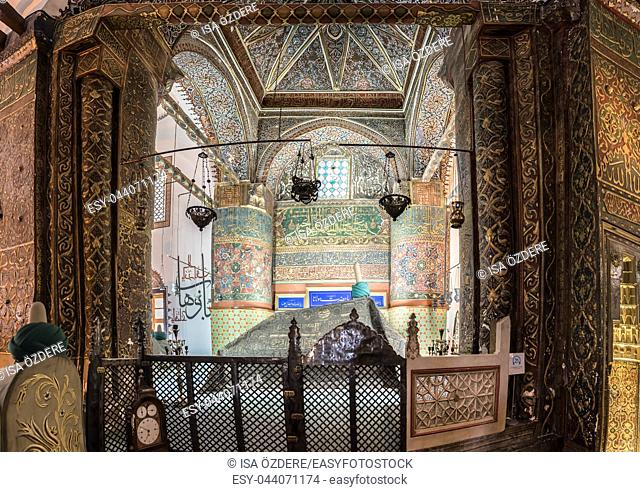 High Resolution Panoramic view of Mevlana Tomb at Mevlana museum in Konya,Turkey. 28 August 2017