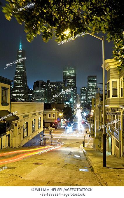 Kearny Street crossing Broadway, San Francisco, California, USA, night, fog in sky, Trans-America pyramid, Bank of America building