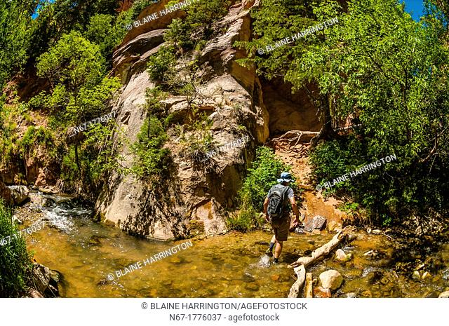 Hiking to Kanarra Creek Falls, near Cedar City, Utah USA