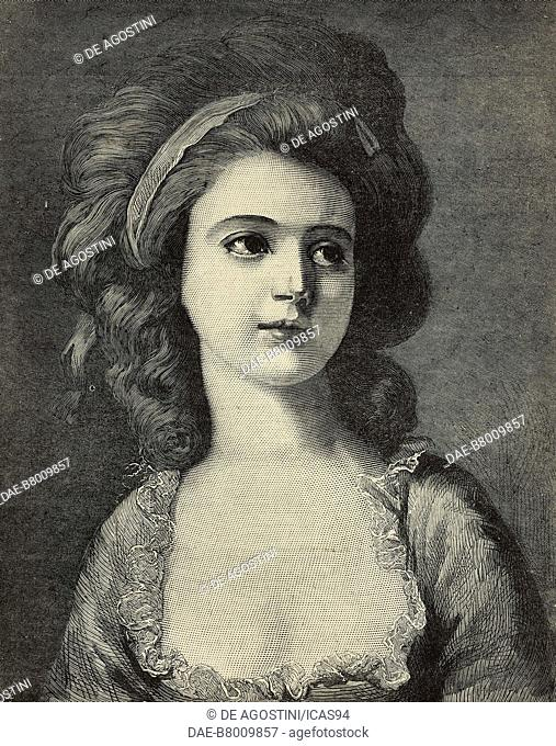Portrait of countess Potocka, engraving from a painting by Angelica Kauffman, The Illustrated London News, No 2218, November 19, 1881
