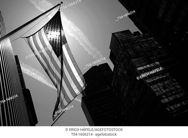 American flag in the financial district of Manhattan