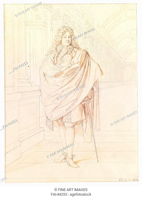 Portrait of the poet Jean Racine (1639-1699) by Ingres, Jean Auguste Dominique (1780-1867)/Pen, brush, Indian ink on paper/Neoclassicism/1845/France/Private...