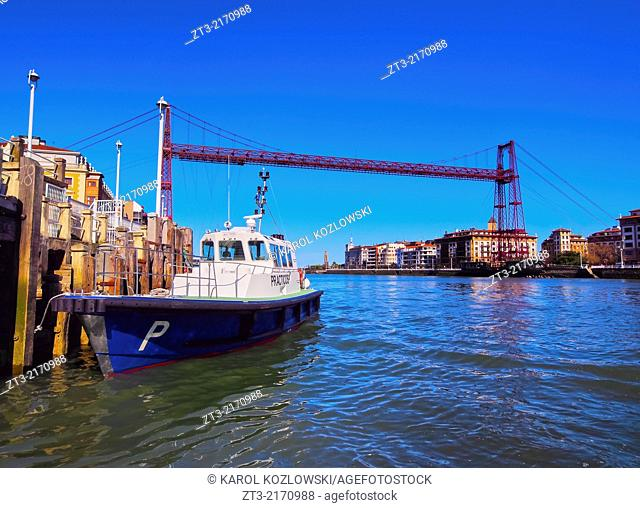 Puente Colgante or Puente de Vizcaya - a suspension bridge conecting Portugalete and Las Arenas, Biscay, Basque Country, Spain