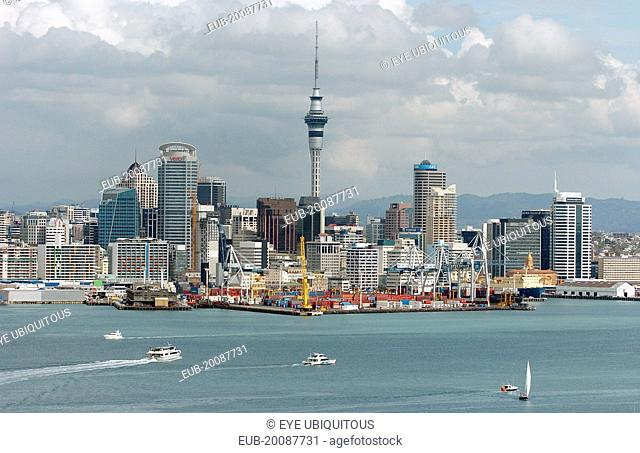 General View Of Auckland Skyline Showing Auckland Harbour Taken From The Mount Victoria Reserve