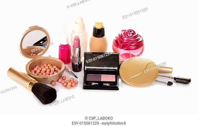 The set of decorative cosmetics, perfume