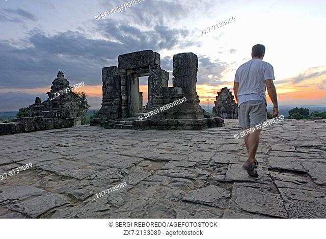 Phnom Bakheng Temple. Sunrise. Phnom Bakheng is one of the 4 hills, which is outstanding the Angkor area. King Yasovarman I