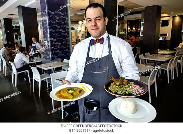 Florida, Miami, downtown, Cvi.che 105, Peruvian, restaurant, Hispanic, man, waiter, employee, serving, lunch, plates, fish, roasted chicken, cilantro rice